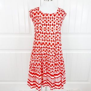 Ark & Co Coral Red Boho Corset Tie Midi Dress S